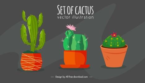 decorative houseplant background cactus pots sketch classic handdrawn