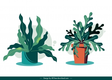 decorative houseplant icons colored classical design