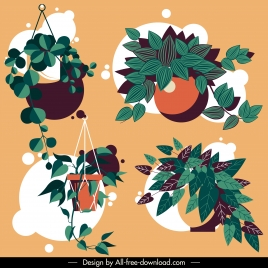 decorative houseplant icons leaves sketch colored classical design