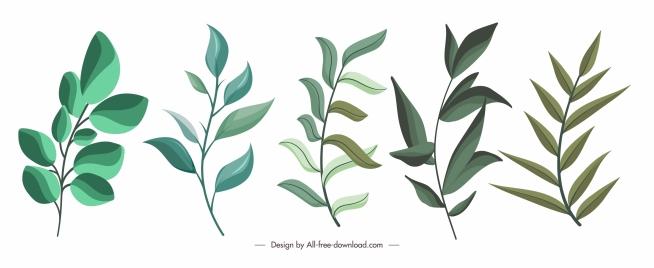 decorative leaf icons classical handdrawn green sketch