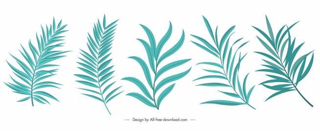 decorative leaf icons green classical handdrawn design
