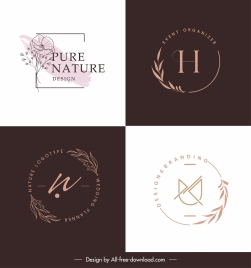 decorative logo templates flat handdrawn plants decor
