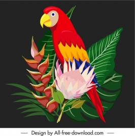 decorative nature element colorful parrot flowers leaves sketch