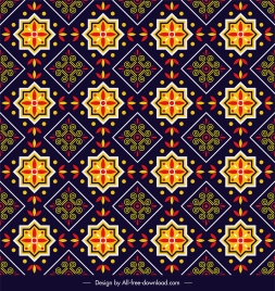 decorative pattern colorful oriental symmetrical repeating sketch