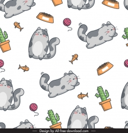 decorative pattern cute cat fish cactus icons sketch