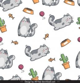 decorative pattern cute cat fish cactus icons sketch