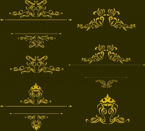 decorative pattern design element yellow classical curves style