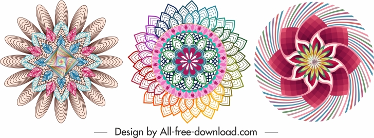 decorative pattern design elements symmetric swirled illusion shapes
