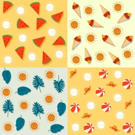 decorative pattern sets summer theme repeating icons decor