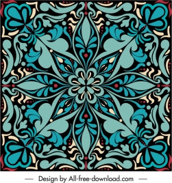 decorative pattern template retro symmetric flora sketch