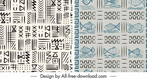 decorative patterns flat handdrawn fish abstract themes