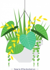 decorative plant background green yellow leaves icons decor