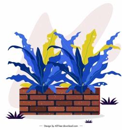 decorative plant icon brick pottery colored classical design