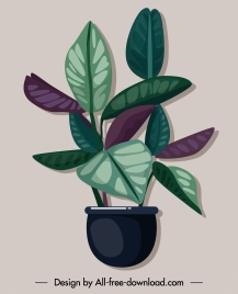 decorative plant icon colored classical flat sketch