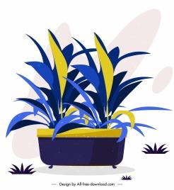 decorative plant icon colored classical sketch