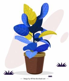 decorative plant pottery icon colored leaves classic design