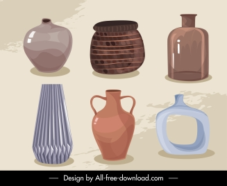 decorative pots icons shiny elegant retro design