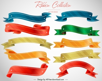 decorative ribbon templates collection modern colorful 3d design