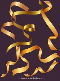 decorative ribbon templates dynamic shiny golden curled design