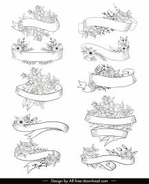 decorative ribbon templates floral decor handdrawn sketch