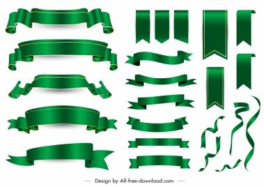 decorative ribbon templates shiny modern green blank 3d