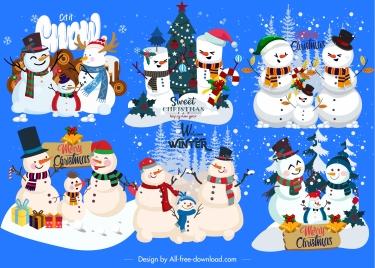 decorative snowman icons colorful classic cute design