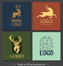 deer logotypes handdrawn sketch flat 3d design