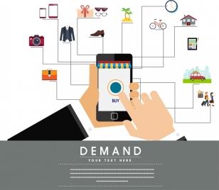demand inforgraphic smartphone consumption icons design