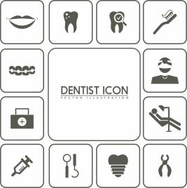 dental design elements black white flat icons isolation