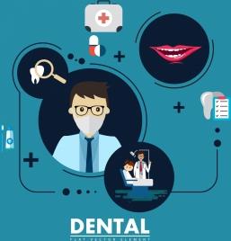 dental design elements various flat symbols