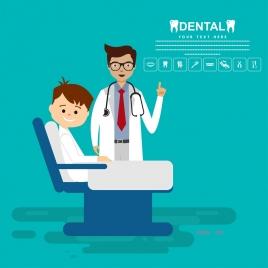 dental poster colored cartoon design dentist kid icons