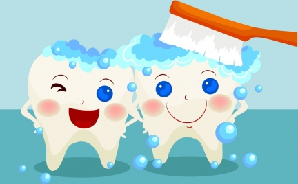 dental promotion banner cute stylized teeth icons