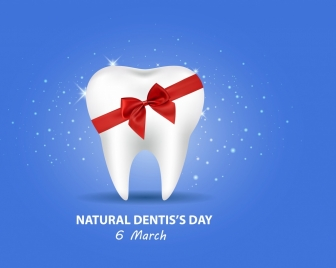 dentist day banner shiny colored design tooth icon