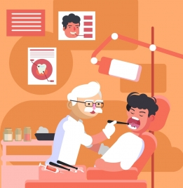 dentistry background dentist patient icon cartoon characters