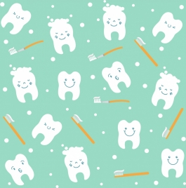 dentistry background teeth toothbrush icons repeating design