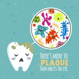 dentistry banner stylized tooth bacteria icons colored cartoon