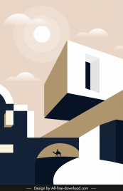 desert architecture template geometric sketch