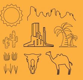 desert design elements outline hand drawn flat style