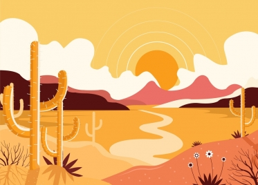 desert landscape background sun cactus icons colored classical
