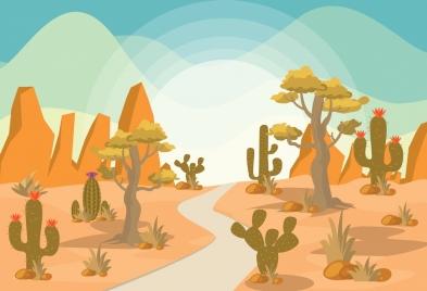 desert landscape drawing colored cartoon design cactus icons