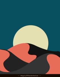 desert scene painting dark classical flat design
