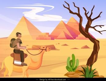 desert scene painting pyramid camel tourist sketch