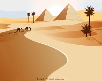 desert scenery painting pyramid camel pedestrian sketch