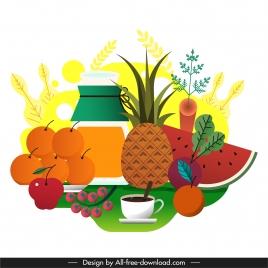 dessert background fruits tea sketch colorful flat design