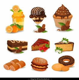 dessert cream cakes icons colorful sketch fruits decoration