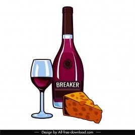 dessert design elements wineglass bottle cheese sketch