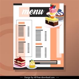 dessert menu template cream cakes sketch colorful decor