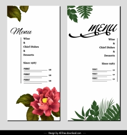 dessert menu template elegant bright floral leaves decor