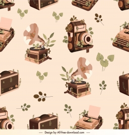 devices pattern repeating retro camera typewriter music players