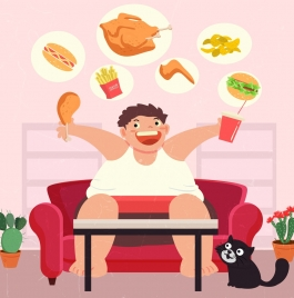 diet background fat man fast food icons